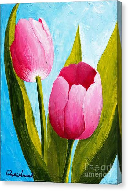 Canvas Print featuring the painting Pink Bubblegum Tulip II by Phyllis Howard