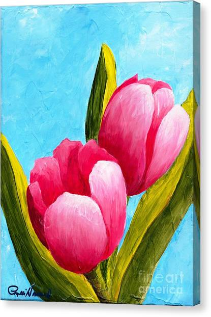 Pink Bubblegum Tulips I Canvas Print