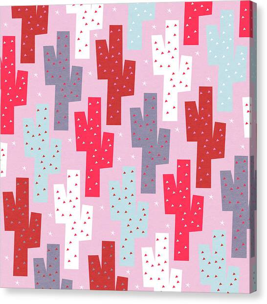 Papercut Canvas Print - Pink Cactus Pattern by Yetiland