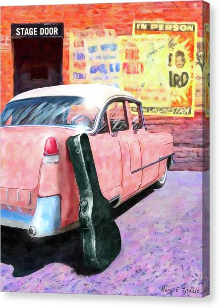 Canvas Print featuring the digital art Pink Cadillac At The Stage Door by Mark Tisdale