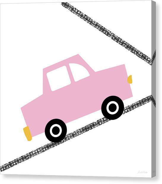 Driving Canvas Print - Pink Car On Road- Art By Linda Woods by Linda Woods