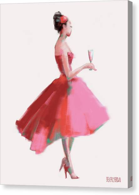 Woman Cave Canvas Print - Pink Champagne Fashion Art by Beverly Brown