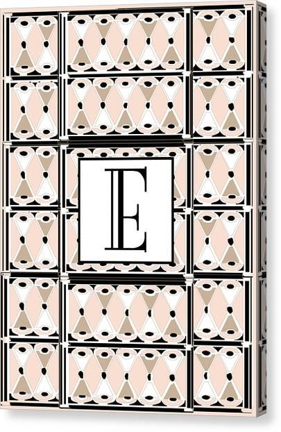 Pink Champagne Deco Monogram  E Canvas Print