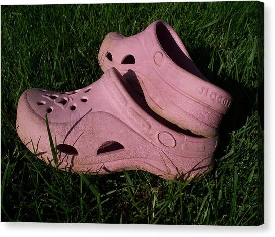 Pink Clogs Canvas Print by Emily Kelley