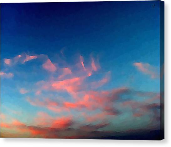 Canvas Print featuring the digital art Pink Clouds Abstract by Shelli Fitzpatrick