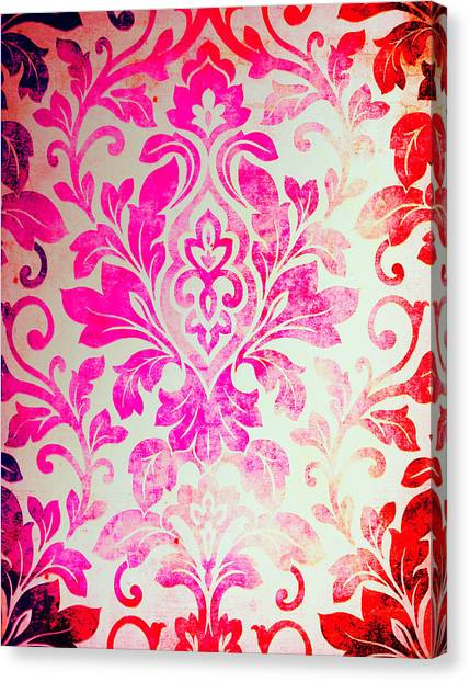Pink Damask Pattern Canvas Print