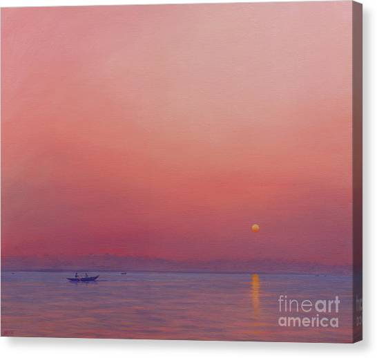 Ganges Canvas Print - Pink Dawn On The Ganges by Derek Hare