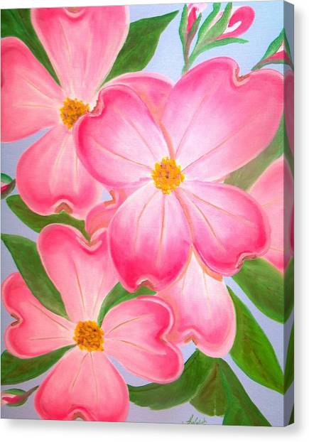 Pink Dogwood Canvas Print by Kathern Welsh