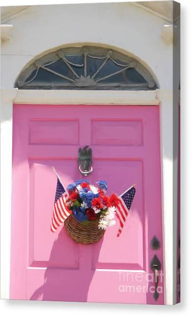 Pink Door Canvas Print by Susan  Lipschutz