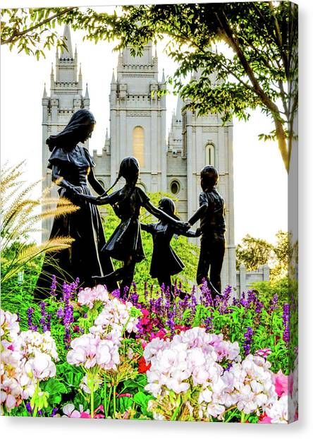Temple Canvas Print - Pink Family Slc Temple by La Rae  Roberts