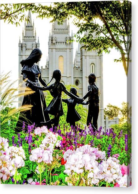 Mormon Canvas Print - Pink Family Slc Temple by La Rae  Roberts