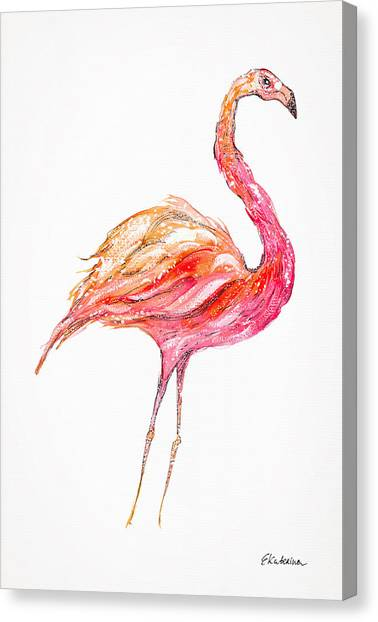 Pink Flamingo Bird Canvas Print