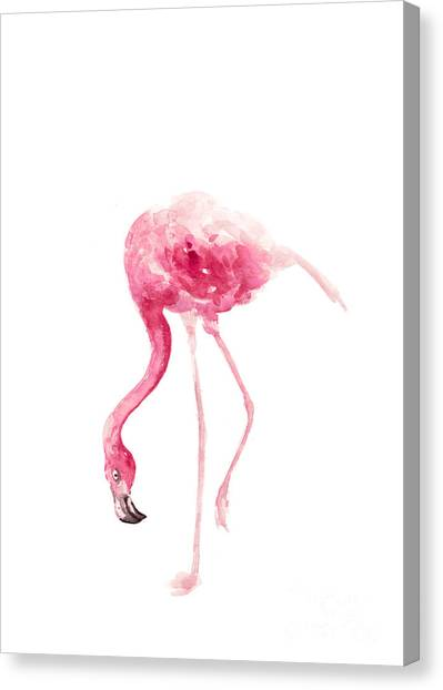 Tropical Birds Canvas Print - Pink Flamingo Watercolor Art Print Painting by Joanna Szmerdt