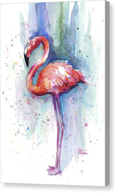 Tropical Birds Canvas Print - Pink Flamingo Watercolor by Olga Shvartsur