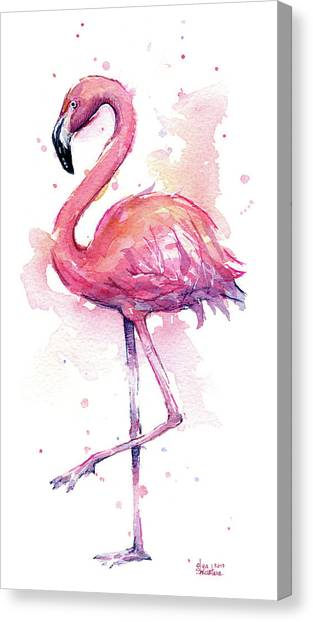 Rights Canvas Print - Pink Flamingo Watercolor Tropical Bird by Olga Shvartsur