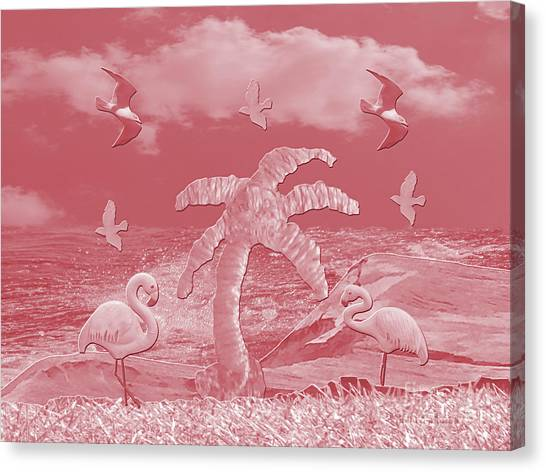 Pink Flamingo's Palms Canvas Print