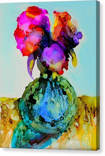 Canvas Print featuring the painting Pink Flowers In A Vase by Priti Lathia