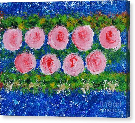 Pink Flowers On Green And Blue Canvas Print