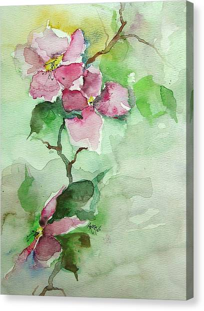 Pink Flowers On Branch Canvas Print