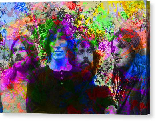 Pink Floyd Canvas Print - Pink Floyd Band Portrait Paint Splatters Pop Art by Design Turnpike