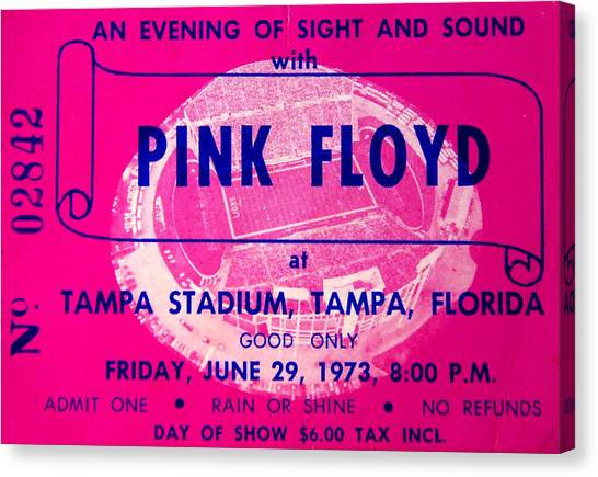 Pink Floyd Canvas Print - Pink Floyd Concert Ticket 1973 by David Lee Thompson