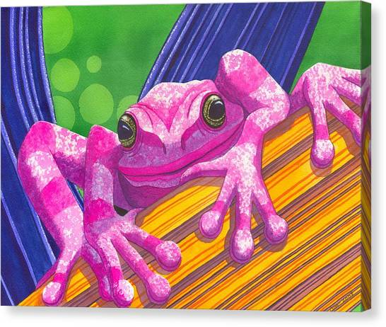 Pink Frog Canvas Print by Catherine G McElroy