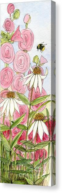 Pink Hollyhock And White Coneflowers Canvas Print