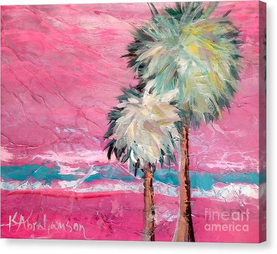 Pink Horizon Palms Canvas Print