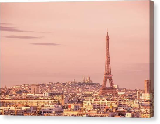 Paris Skyline Canvas Print - Pink Hour by Delphimages Photo Creations