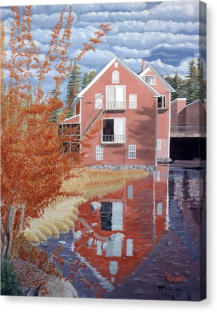Canvas Print featuring the painting Pink House In Autumn by Dominic White