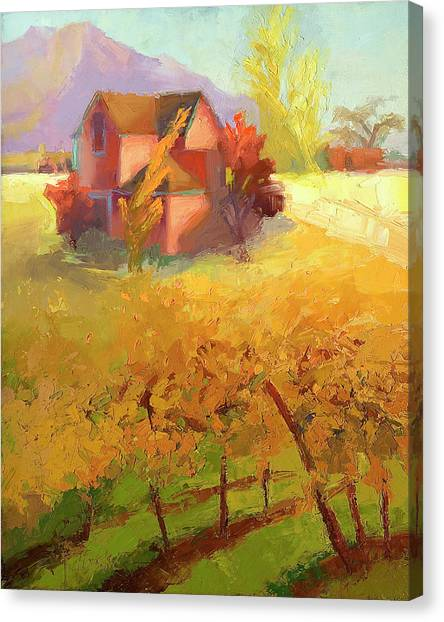 Pink House Yellow Canvas Print by Cathy Locke