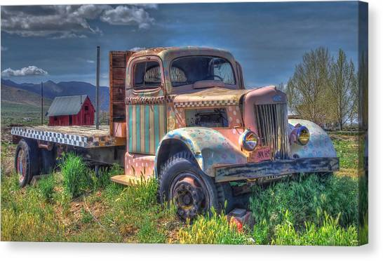 Classic Flatbed Truck In Pink Canvas Print