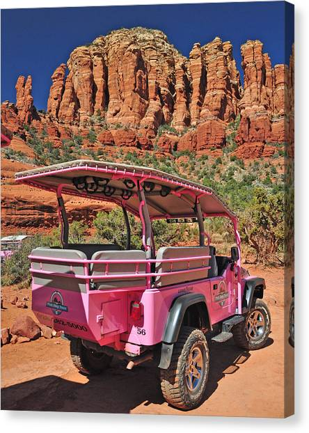 Pink Jeep At Sedona Canvas Print