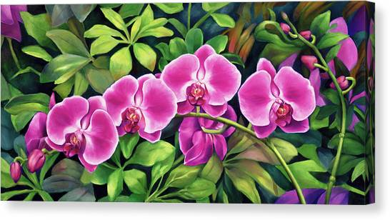 Pink Jungle Orchids Canvas Print