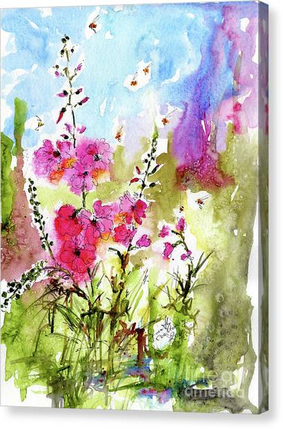 Pink Lavatera Watercolor Painting By Ginette Canvas Print