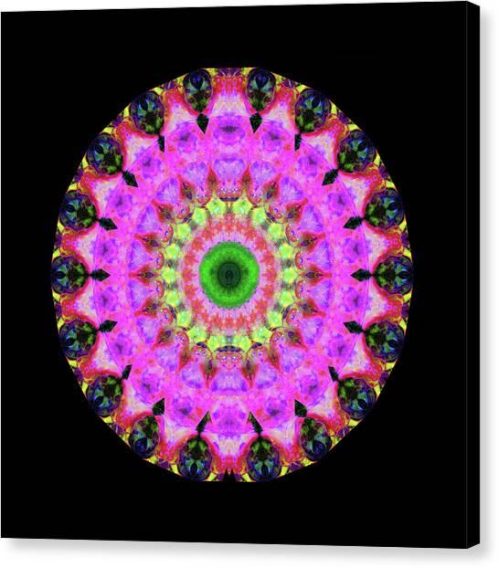 Spiritual Art Canvas Print - Pink Love Mandala Art By Sharon Cummings by Sharon Cummings