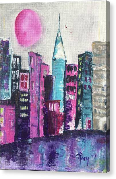 Metropolis Canvas Print - Pink Moon City by Roxy Rich