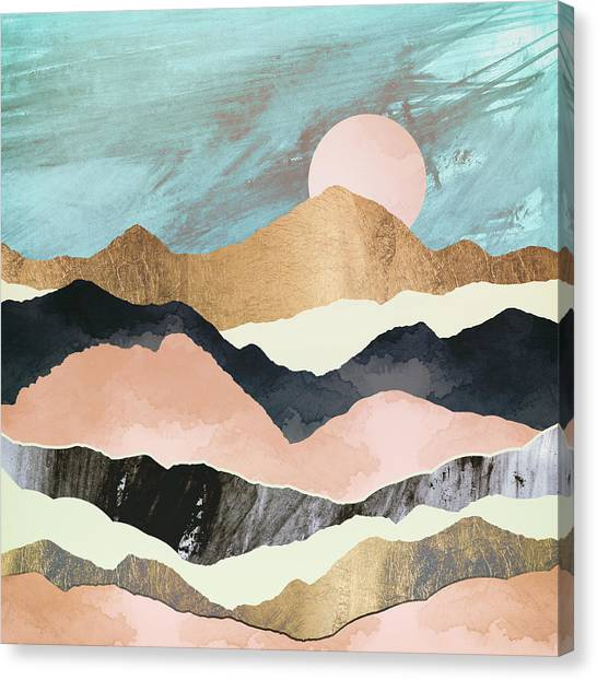 Salmon Canvas Print - Pink Mountains by Spacefrog Designs