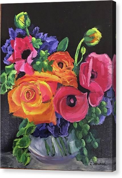 Pink On Black Canvas Print