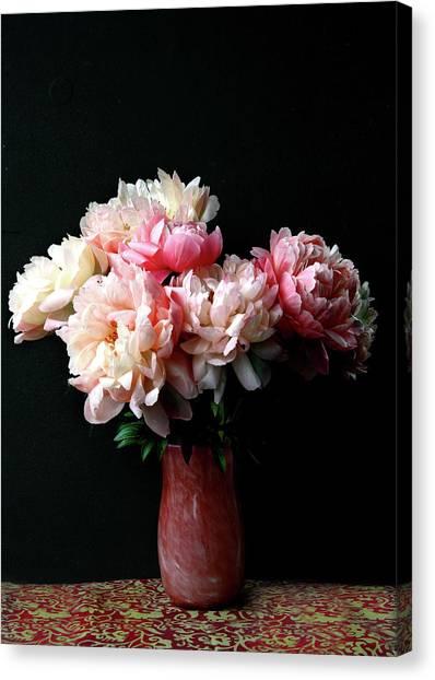 Pink Peonies In Pink Vase Canvas Print