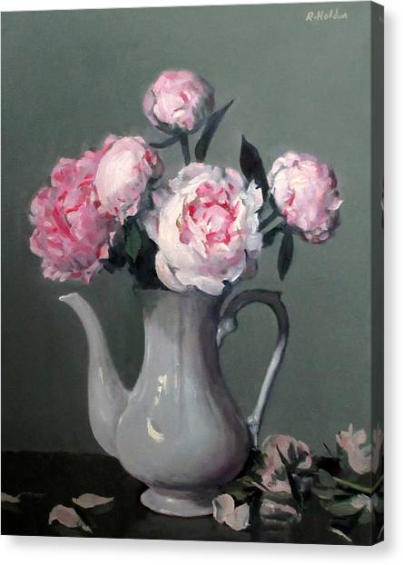Pink Peonies In White Coffeepot Canvas Print