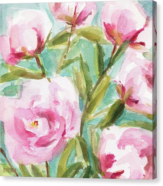 Farmhouse Canvas Print - Pink Peony Branches by Beverly Brown Prints