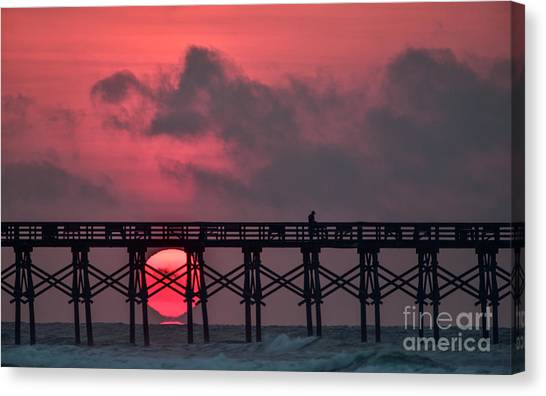 Pink Pier Sunrise Canvas Print