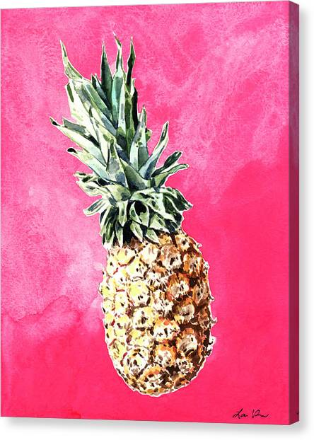 Pineapples Canvas Print - Pink Pineapple Bright Fruit Still Life Healthy Living Yoga Inspiration Tropical Island Kawaii Cute by Laura Row