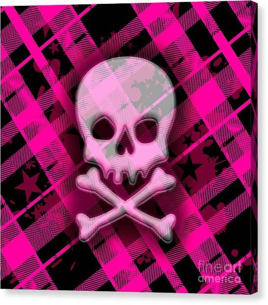 Pink Plaid Skull Canvas Print