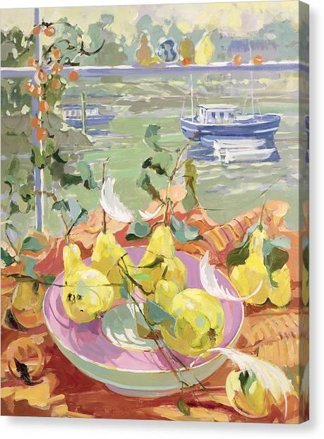 In Bloom Canvas Print - Pink Plate Of Pears by Elizabeth Jane Lloyd