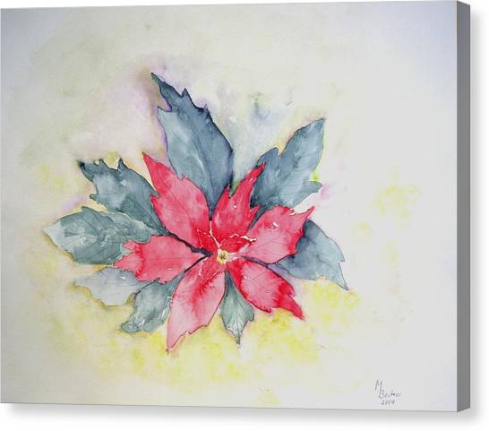 Pink Poinsetta On Blue Foliage Canvas Print