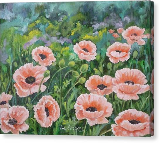 Pink Poppies Canvas Print by Val Stokes