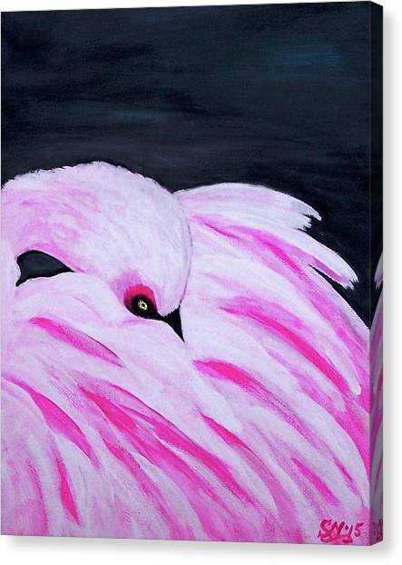 Canvas Print featuring the painting Pink Primping Flamingo by Sonya Nancy Capling-Bacle