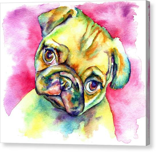 Pugs Canvas Print - Pink Pug by Christy  Freeman